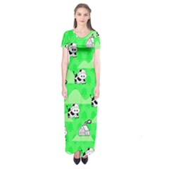 Animals Cow Home Sweet Tree Green Short Sleeve Maxi Dress