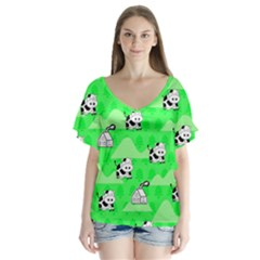Animals Cow Home Sweet Tree Green Flutter Sleeve Top