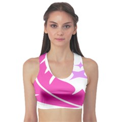 Bird Feathers Star Pink Sports Bra by Alisyart