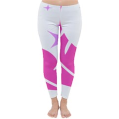 Bird Feathers Star Pink Classic Winter Leggings