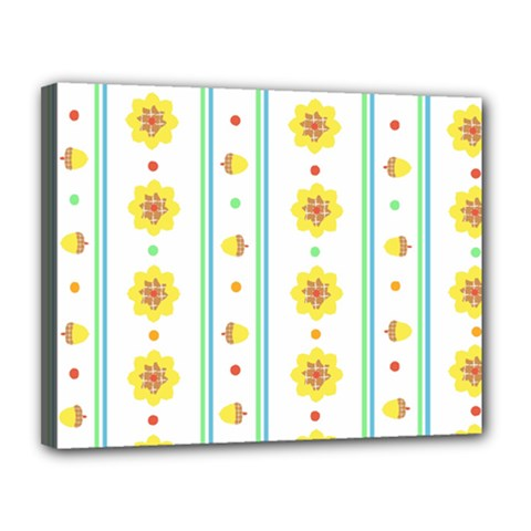 Beans Flower Floral Yellow Canvas 14  X 11