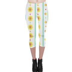 Beans Flower Floral Yellow Capri Leggings