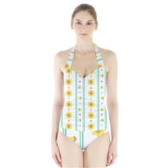 Beans Flower Floral Yellow Halter Swimsuit