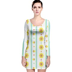 Beans Flower Floral Yellow Long Sleeve Velvet Bodycon Dress