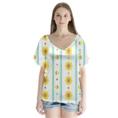 Beans Flower Floral Yellow Flutter Sleeve Top