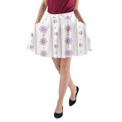 Beans Flower Floral Purple A Line Pocket Skirt by Alisyart
