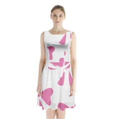 Bow Ties Pink Sleeveless Chiffon Waist Tie Dress