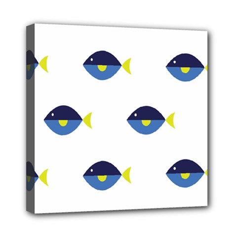 Blue Fish Swim Yellow Sea Beach Mini Canvas 8  X 8  by Alisyart