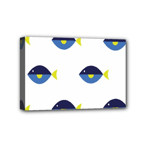 Blue Fish Swim Yellow Sea Beach Mini Canvas 6  X 4  by Alisyart