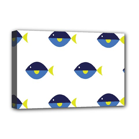 Blue Fish Swim Yellow Sea Beach Deluxe Canvas 18  X 12   by Alisyart