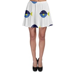 Blue Fish Swim Yellow Sea Beach Skater Skirt by Alisyart