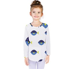 Blue Fish Swim Yellow Sea Beach Kids  Long Sleeve Tee