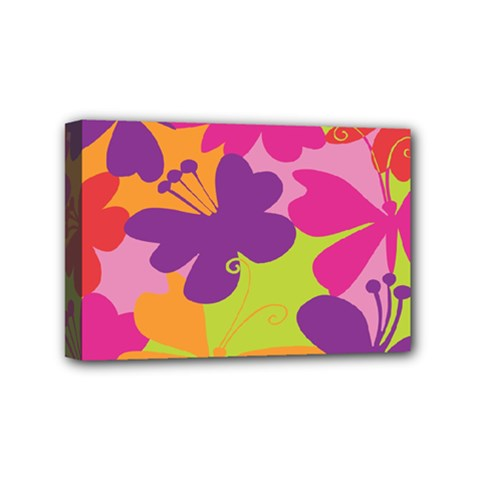 Butterfly Animals Rainbow Color Purple Pink Green Yellow Mini Canvas 6  X 4  by Alisyart