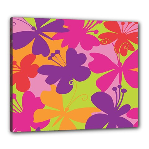 Butterfly Animals Rainbow Color Purple Pink Green Yellow Canvas 24  X 20  by Alisyart