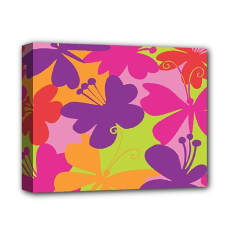 Butterfly Animals Rainbow Color Purple Pink Green Yellow Deluxe Canvas 14  X 11  by Alisyart