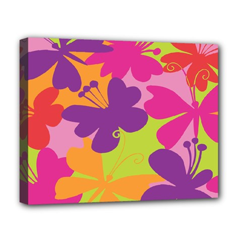Butterfly Animals Rainbow Color Purple Pink Green Yellow Deluxe Canvas 20  X 16   by Alisyart
