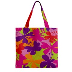 Butterfly Animals Rainbow Color Purple Pink Green Yellow Grocery Tote Bag by Alisyart