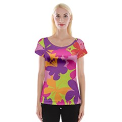 Butterfly Animals Rainbow Color Purple Pink Green Yellow Women s Cap Sleeve Top by Alisyart