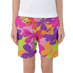 Butterfly Animals Rainbow Color Purple Pink Green Yellow Women s Basketball Shorts by Alisyart