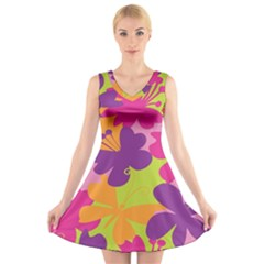 Butterfly Animals Rainbow Color Purple Pink Green Yellow V Neck Sleeveless Skater Dress