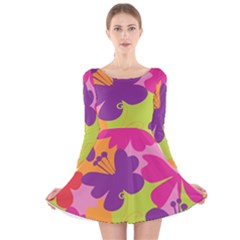 Butterfly Animals Rainbow Color Purple Pink Green Yellow Long Sleeve Velvet Skater Dress by Alisyart