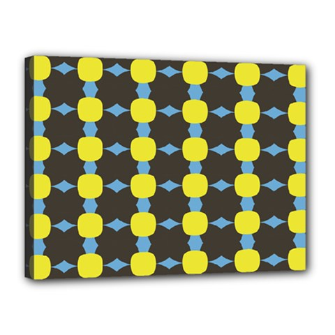 Blue Black Yellow Plaid Star Wave Chevron Canvas 16  X 12