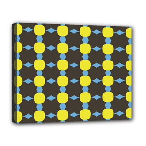 Blue Black Yellow Plaid Star Wave Chevron Deluxe Canvas 20  X 16   by Alisyart