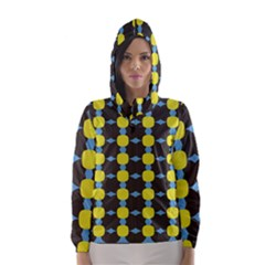 Blue Black Yellow Plaid Star Wave Chevron Hooded Wind Breaker (women) by Alisyart