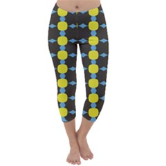 Blue Black Yellow Plaid Star Wave Chevron Capri Winter Leggings