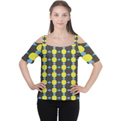 Blue Black Yellow Plaid Star Wave Chevron Women s Cutout Shoulder Tee by Alisyart