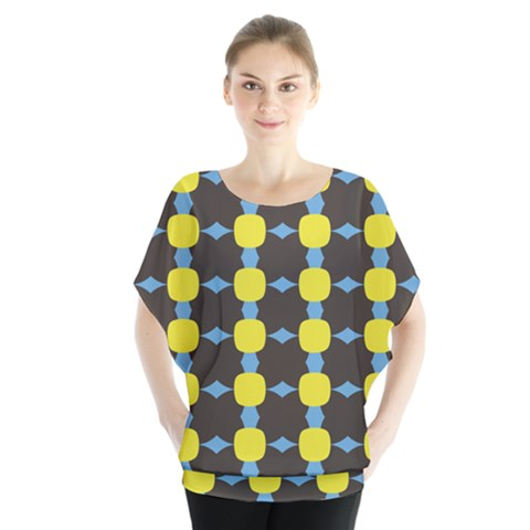 Blue Black Yellow Plaid Star Wave Chevron Blouse by Alisyart