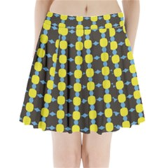 Blue Black Yellow Plaid Star Wave Chevron Pleated Mini Skirt