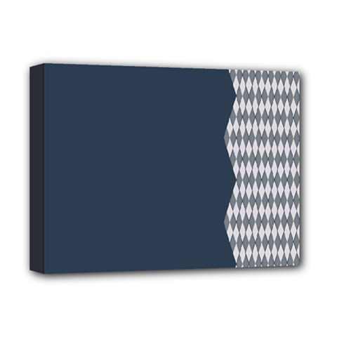 Argyle Triangle Plaid Blue Grey Deluxe Canvas 16  X 12   by Alisyart