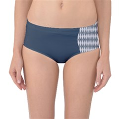 Argyle Triangle Plaid Blue Grey Mid Waist Bikini Bottoms