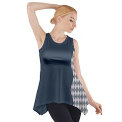 Argyle Triangle Plaid Blue Grey Side Drop Tank Tunic by Alisyart