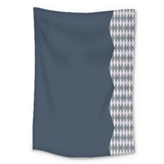 Argyle Triangle Plaid Blue Grey Large Tapestry