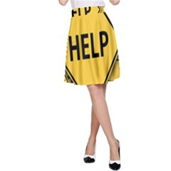 Caution Road Sign Help Cross Yellow A Line Skirt by Alisyart