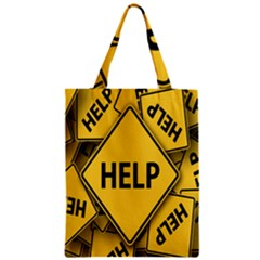 Caution Road Sign Help Cross Yellow Zipper Classic Tote Bag by Alisyart
