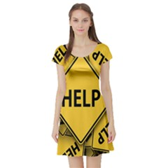 Caution Road Sign Help Cross Yellow Short Sleeve Skater Dress by Alisyart