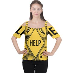 Caution Road Sign Help Cross Yellow Women s Cutout Shoulder Tee by Alisyart
