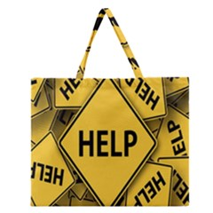 Caution Road Sign Help Cross Yellow Zipper Large Tote Bag by Alisyart