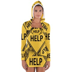 Caution Road Sign Help Cross Yellow Women s Long Sleeve Hooded T Shirt