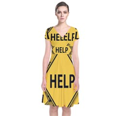 Caution Road Sign Help Cross Yellow Short Sleeve Front Wrap Dress by Alisyart