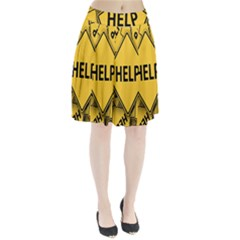 Caution Road Sign Help Cross Yellow Pleated Skirt by Alisyart