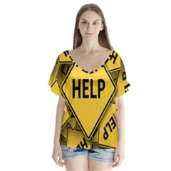 Caution Road Sign Help Cross Yellow Flutter Sleeve Top