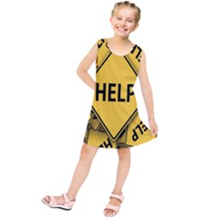 Caution Road Sign Help Cross Yellow Kids  Tunic Dress