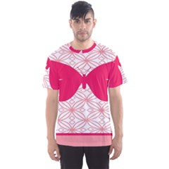 Butterfly Animals Pink Plaid Triangle Circle Flower Men s Sport Mesh Tee by Alisyart