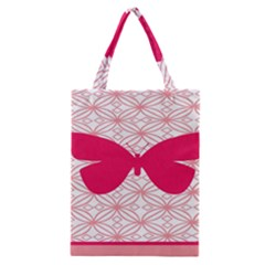 Butterfly Animals Pink Plaid Triangle Circle Flower Classic Tote Bag by Alisyart