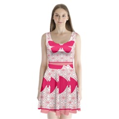 Butterfly Animals Pink Plaid Triangle Circle Flower Split Back Mini Dress