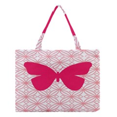 Butterfly Animals Pink Plaid Triangle Circle Flower Medium Tote Bag by Alisyart
